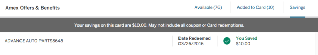 AmEx Offers Redeemed